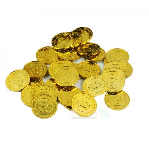 Bitcoins for Party (50 Bitcoin Pieces, Gold Color)