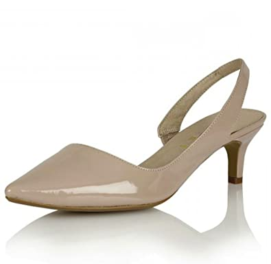 74e9aa4f94c3 Ravel Beaumont- Womens Nude Beige Pointed toe Slingback Low Kitten Heels  Ladies Court Shoes size 3  Amazon.co.uk  Shoes   Bags