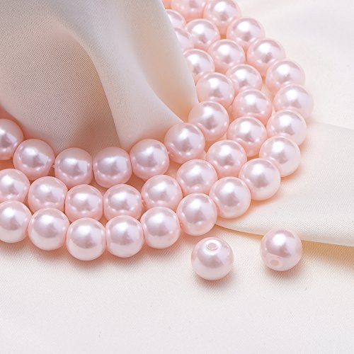 BENECREAT 200 Piece 8 mm Environmental Dyed Pearlize Glass Pearl Round Bead for Jewelry Making with Bead Container, Pink