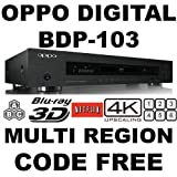 OPPO BDP-103 2D/3D 2K/4K MultiZone Blu Ray Zone A/B/C & Multi All Region Free DVD 012345678. Dual HDMI RS-232C MHL SA-CD HDCD AVI DivX XviD MKV 100~240V 50/60Hz. (Free HDMI Cable)