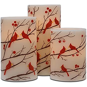 Mark Feldstein Flameless 3PC Glitter Berries And Cardinals Wax Pillars With Timer