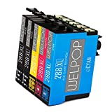 WELPOP 1Set+1BK Remanufactured Epson 288 ink cartridges, (2 Black, 1 Cyan, 1 Magenta, 1 Yellow) High Yield, Worked for Epson Expression Home XP-330 XP-340 XP-430 XP-434 XP-440 XP-446 Printers