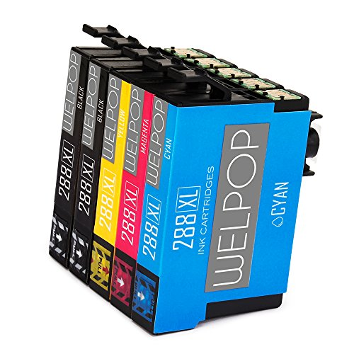 WELPOP 1Set+1Black Compatible Ink Cartridge Replacement For 288 288XL High Yield 5 Pack Compatible With Expression Home XP-330 XP-340 XP-430 XP-434 XP-440 XP-446 Printers