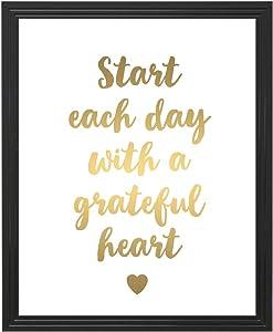 Eleville 8X10 Unframed Start Each Day With A Grateful Heart Inspirational Quote Gold Foil Art Print wgn153