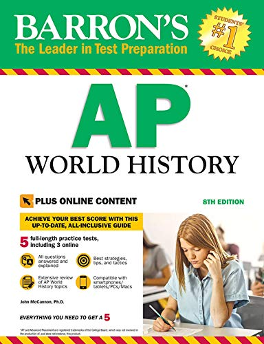 Book cover from Barrons AP World History with Online Tests by John McCannon
