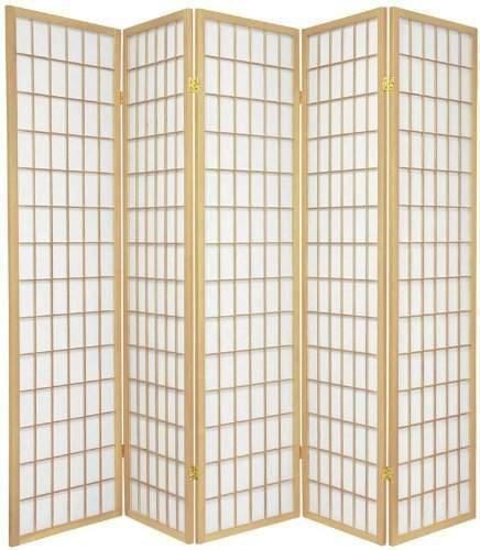 Alitop 71'' H Oriental Style 5-Panel Room Divider Shoji Screen Natural Framed