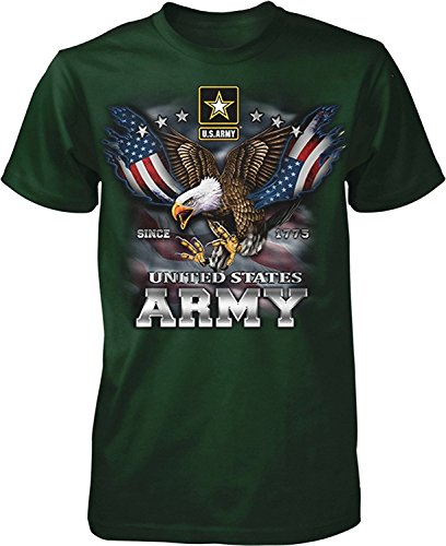 - US Army Since 1775 Eagle USA American Flag Wings Men's T-shirt , Forest, 4XL