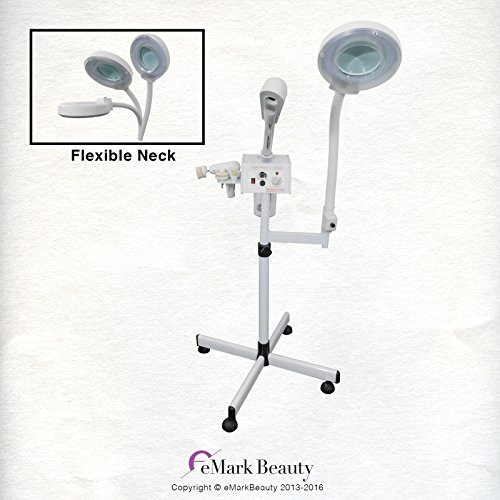 Herbal Steamer - eMark Beauty Rotating Brush Facial Steamer Ozone Aromatherapy & Herbal Skin Care Salon Spa Quality Equipment with Magnifying Lamp TLC-6000SB