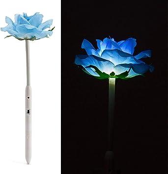 Flores decorativas artificiales con rosas y luces LED para jardín, paisaje, decoración navideña/fiesta, funciona con pilas, garantía de calidad 100%, color azul: Amazon.es: Deportes y aire libre