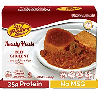 Kosher Mre Meat Meals Ready to Eat, Beef Cholent (1 Pack) 35g Protien - Prepared Entree Fully Cooked, Shelf Stable Microwave Dinner – Travel, Military, Camping, Emergency Survival Canned Food Supply