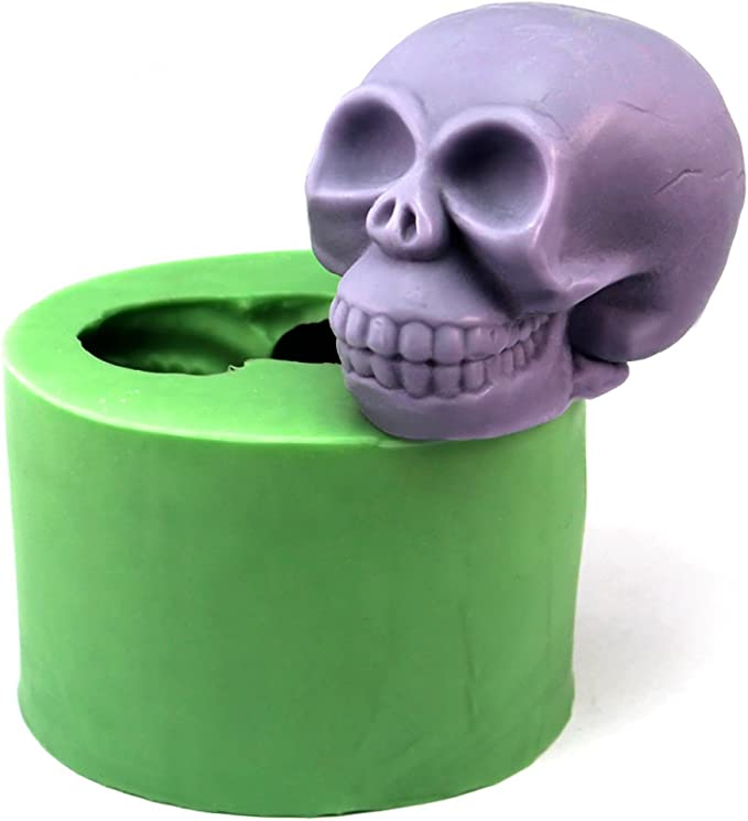 3D Skull Head Rose Silicone Mold DIY Cake Mould Chocolate Candy Soap Candle