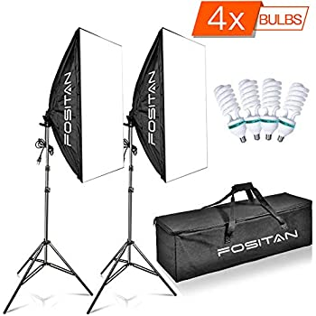 FOSITAN 50X70cm/20 X28 Softbox Studio Lights 1600W 5500K Continuous Lighting Kit with 4X E27 CFL Bulbs and 2M Light Stand for Photo Shooting Video Portrait Video Portrait for Photo Shooting Video Po