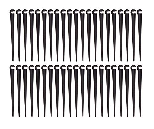 UCLEVER 100pcs Irrigation Drip Support Stakes for 1/4-Inch Tubing Hose Flower Beds, Vegetable Gardens, Herbs Gardens (Dripper Stake)