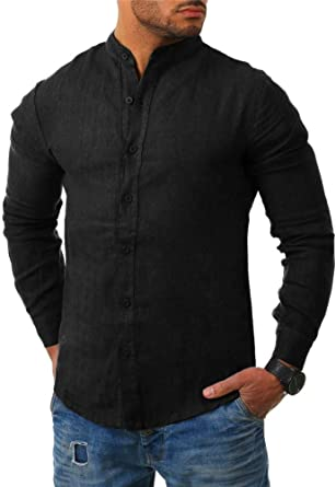 Blouse Fashion Men/'s Slim Fit Shirt Cotton Long Sleeve Shirts Casual Shirt Tops