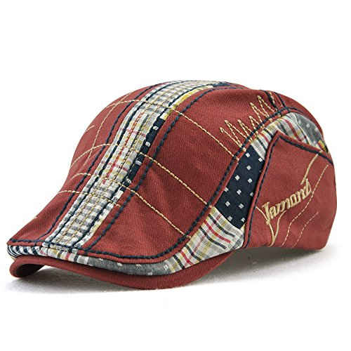 FayTop Men's Women's Newsboy Cap Ivy Irish Flat Hat Cabbie Scally Cap Cabbie Driving Caps Hats 12945-red