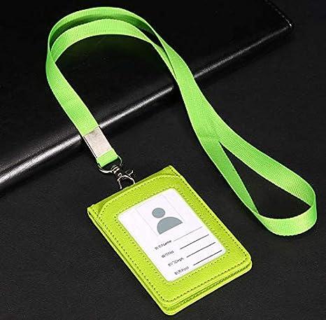 1PCS multiuso durevole in pelle Business ID credito portabadge utile della borsa con della carta trasparente custodia tracolla lunga fascia laccetto 11.2x7.5cm Green