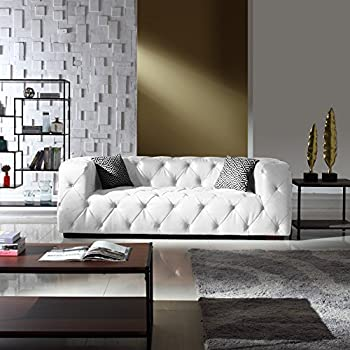 Amazon.com: Large Tufted Linen Fabric Chesterfield Sofa, Classic ...