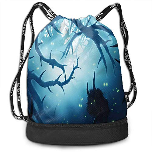 Drawstring Backpacks Bags,Animal With Burning Eyes In The