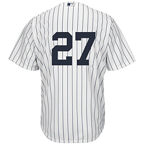 (Giancarlo Stanton New York Yankees #27 Men's Majestic Home Replica Cool Base Player Jersey (Large))