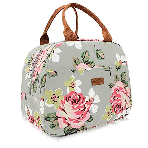 HEKATE Insulated Lunch Bag for Women, Floral Waterproof Thermal Lunch Bags for Work, Flower Insulated Lunch Box Cooler Bag - Thermal Floral Tote