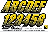 STIFFIE Techtron Yellow/Black 3'' Alpha-Numeric Registration Identification Numbers Stickers Decals for Boats & Personal Watercraft