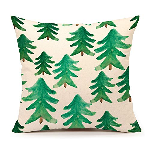 4TH Emotion Watercolor Christmas Tree Farm Throw Pillow Cover Cushion Case for Sofa Couch 18 x 18 Inch Cotton Linen #A