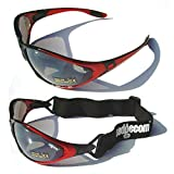 Ladgecom Red All-Weather Sunglasses & Goggles with Head Strap for Cycling, Running & Ski Sports