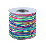 iSuperb Bead String Thread 100 Meters Elastic Strong, Stretchy Jewelry Making Wire Diameter 1mm Stretch String for Bracelet Making (1 Roll Colorful Bead Cords)