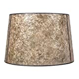 Blonde Mica Drum Lamp Shade with Bronze Spider Assembly For Sale
