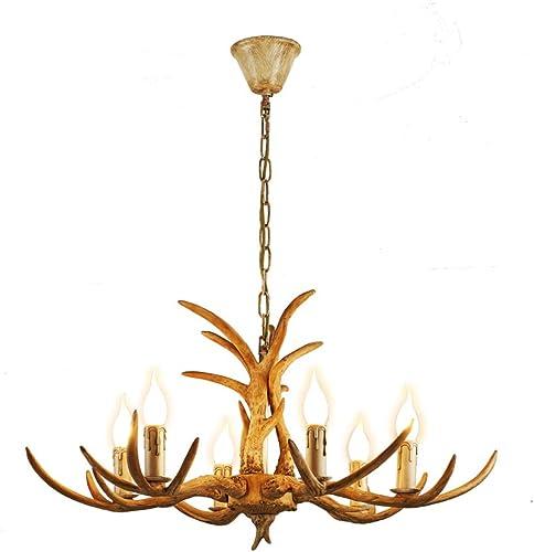 Resin Antler Chandelier 4/6-Light Deer Horn Pendant Lamp Indoor Decorative Lighting Fixture