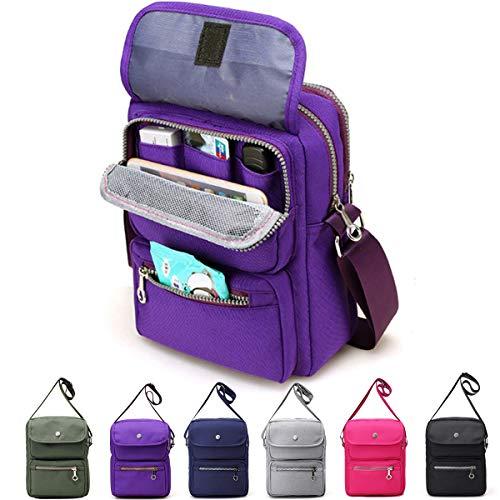 - Crossbody Bag for Women, JOSEKO Multi-Pocketed Nylon Shoulder Bag Purse Travel Passport Bag Messenger Bag (7.87''(L) x 2.76''(W) x 10.24''(H), Dark Purple)