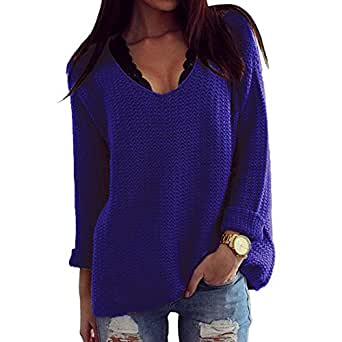 Thanth Womens Casual Hollow Knit VNeck Blouse Pullover Loose Tops Sweater Blue S