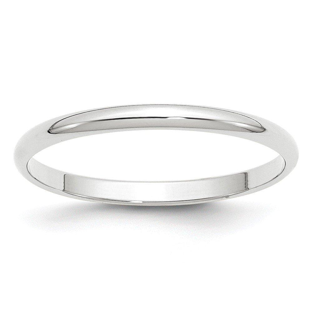 10K White Gold Wedding Band Ring Standard Half Round Solid Polished Rhodium 2 mm 2mm Half Round B
