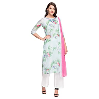 616c8d45142fe Haute Curry by Shoppers Stop Womens Round Neck Printed Kurta Pant Dupatta  Set: Amazon.in: Clothing & Accessories