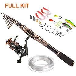 PLUSINNO Spin Spinning Rod and Reel Combos Carbon Telescopic Fishing Rod with Reel Combo Sea Saltwater Freshwater Kit Fishing Rod Kit(2.1M 6.89Ft Fishing Rod + Reel)