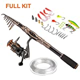 PLUSINNO Spin Spinning Rod and Reel Combos Carbon Telescopic Fishing Rod with Reel Combo Sea Saltwater Freshwater Kit Fishing Rod Kit(1.8M 5.91FT Fishing Rod + Reel)