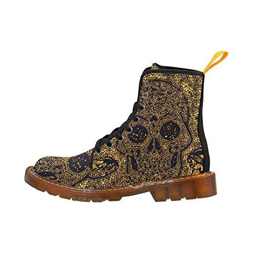 Leinterest Mosaik Skallen Gyllene Martin Stövlar Mode Skor För Kvinnor