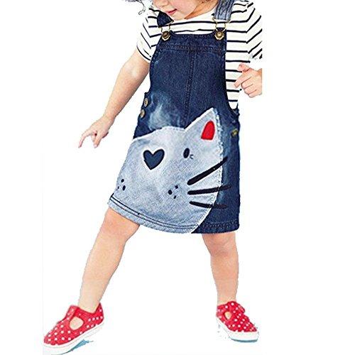 07258aa3e63 cooshional La Robe Salopette en Jean Motif Animal Vêtement Décontracté en Denim  Imprimer Chat Pour Fille