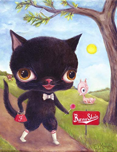 Fluffy Black Cat Big Eye Art Print, Funny Pop Surrealism, Size Options Available ()