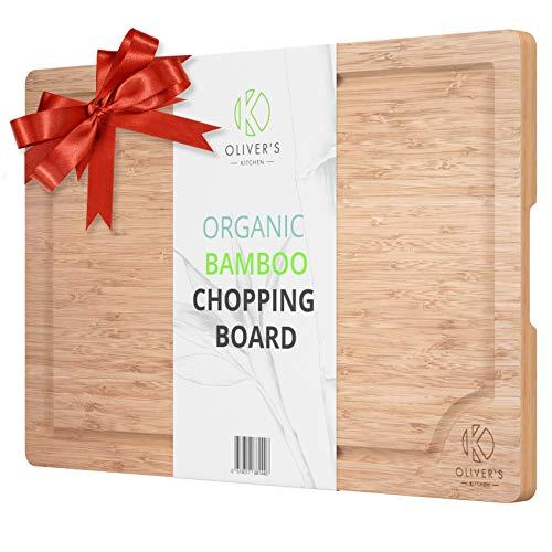 Oliver's Kitchen Premium Schneidebrett 100% Bio Bambus – Extra Froßes Holzschneidebrett – Edel, Robust & Leicht zu Reinigen – Küchenbrett mit Saftrille