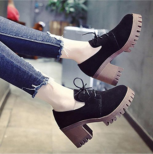 Female Wild Taiwan The Thick Of Autumn The Korean Leather Version Heeled Shoes Retro Single High Bold New England Shoes 8Cm With 36 Shoes KHSKX Waterproof Small 8ZqwxOdax