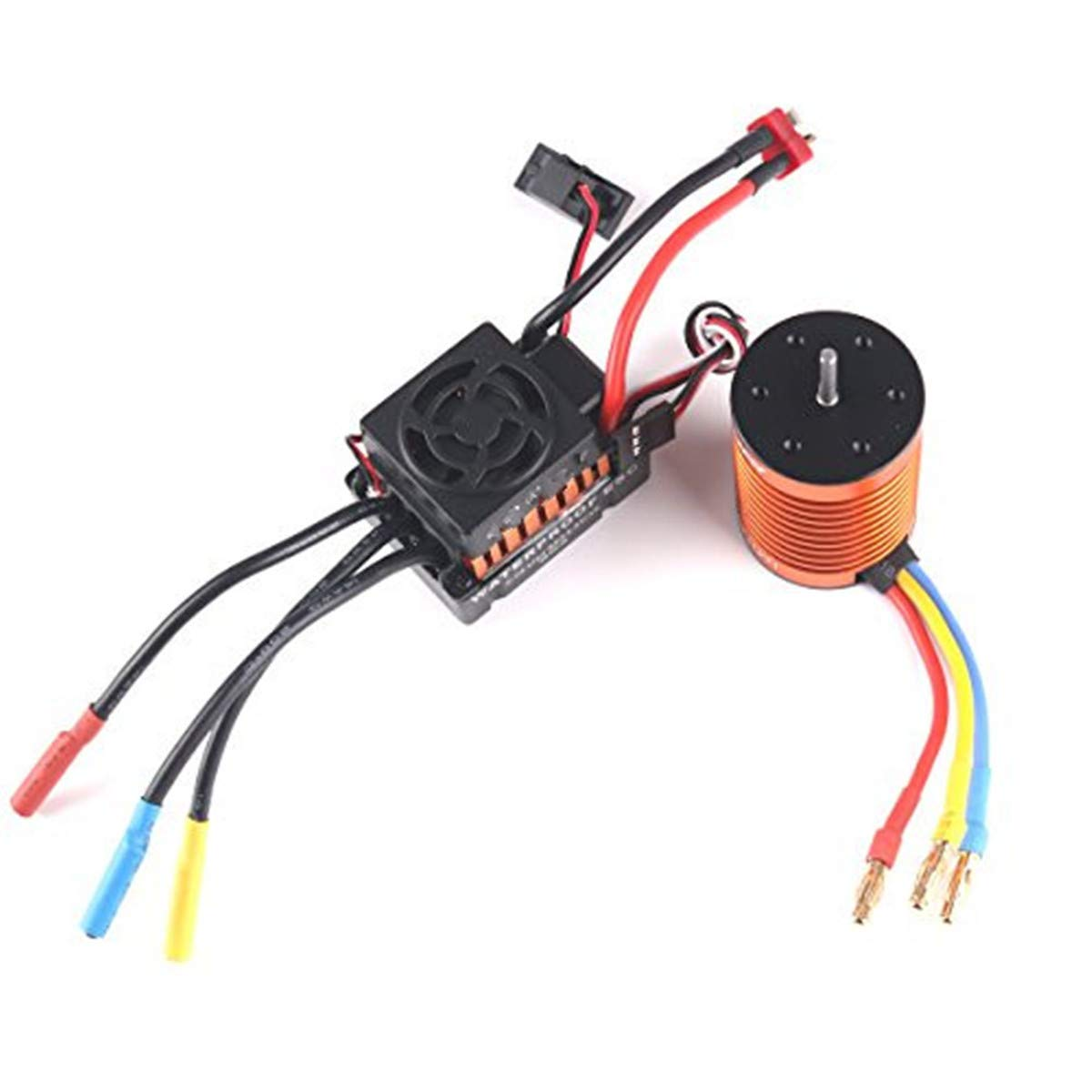 Crazepony-UK B3650 3900KV Sensorless Brushless Motor CNC Waterproof and 60A ESC Electronic Speed Controller Shaft 3.175mm for 1//10 RC Car Truck Running Off-Road Car
