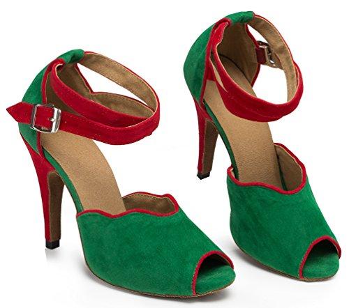 Abby Yfyc-l052 Womens Latin Tango Ballroom Custom Heel Down Dance Shoes Groen