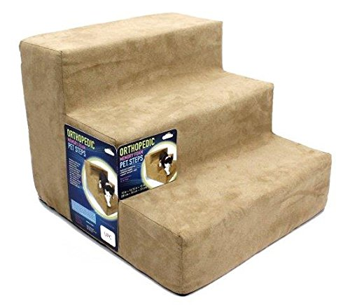 RESTOLOGY High Density Foam 3 Steps Orthopedic Microsuede Bedding for Small Pets, 15'' x 16'' x 12'', Camel