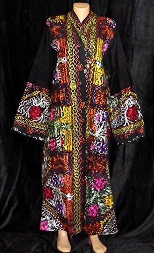 Embroidered Multi Jacket (VINTAGE HANDMADE UZBEK EMBROIDERED SILK LONG JACKET CHAPAN LIGHT COAT A11609)