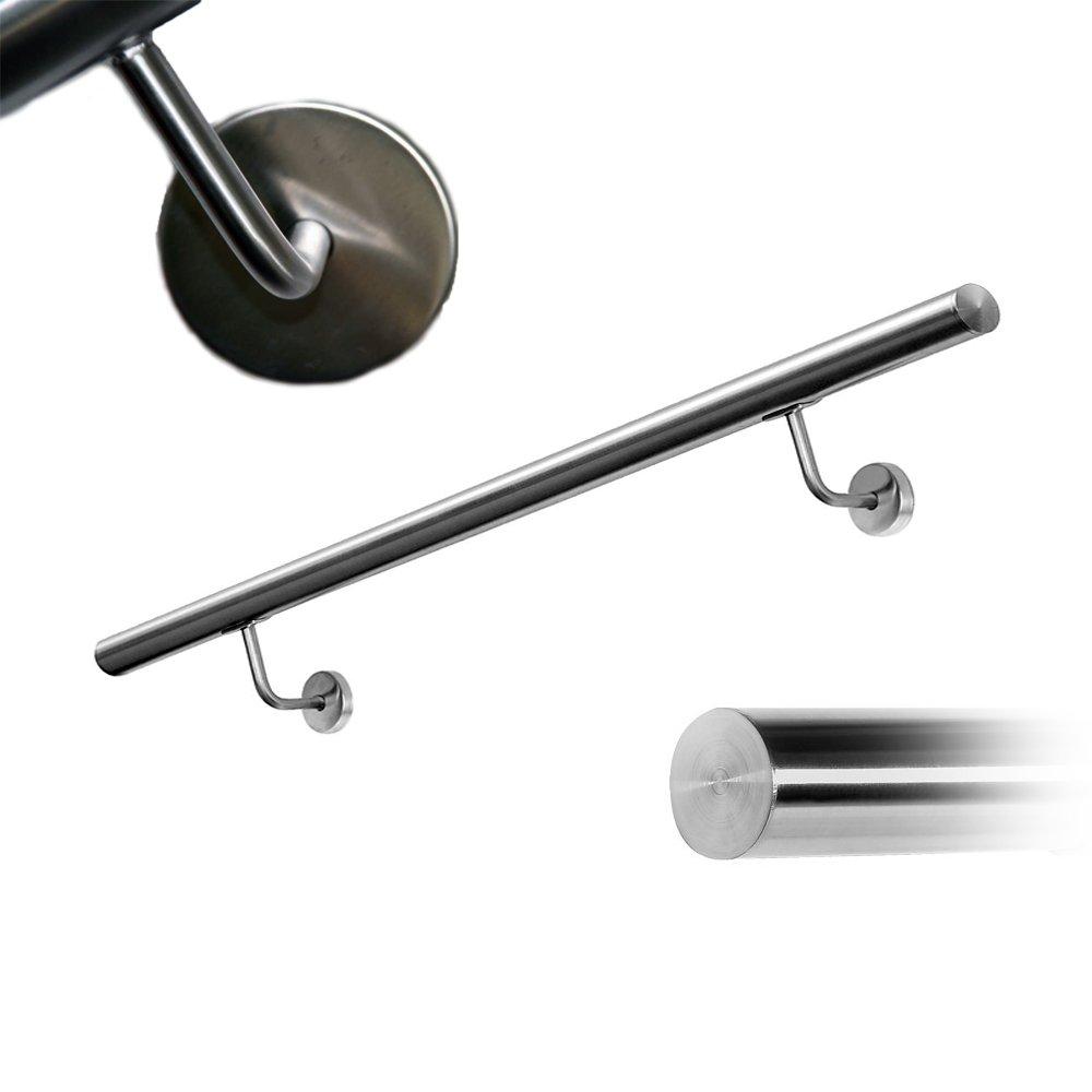 Pasamanos McTech® - Pasamanos de acero inoxidable, soporte de pared, para interiores y exteriores, escaleras, balcón, balaustrada balcón