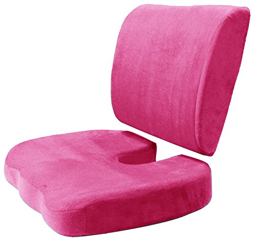 Seat Back Support Cushion Set - Seat Lumbar Rest Pain Relief Pillow - Memory Foam Chair Pad for Office Chair Car Lower Back Pain , Set of 2 (Hot Pink)