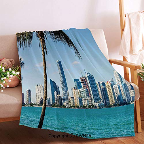 Miami Downtown with Biscayne Bay Buildings and Palm Tree Panoramic Plush Throw Blanket.Anti-Wrinkle Function, Suitable for Living Room Sofa(32
