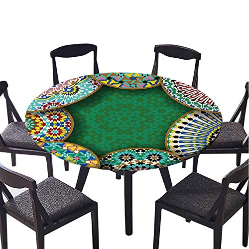 SATVSHOP Vinyl Table Cloth-30 Round-Indoor Outdoor Camping Picnic Circle Table Cloth,Moroccan Oriental Motif with Mix of Hippie etro Circle Morocco Mosaic Lin Sacred Holy Dign .(Elastic Edge)