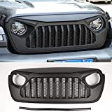 Hgcar Matt Black ABS Car Front Grille Cover Center Mesh Decoration Cover 1PC for Jeep Wrangler JL 2018+(Angry)